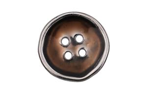 silber und braun Metall Knöpfe flach 4 Löcher charmant unperfekte Form 5 Stück