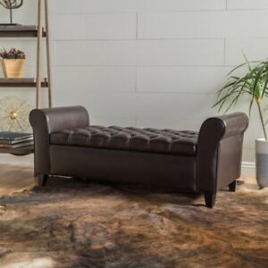 Ultima Leather Armed Indoor Storage Bench, Brown | eBay