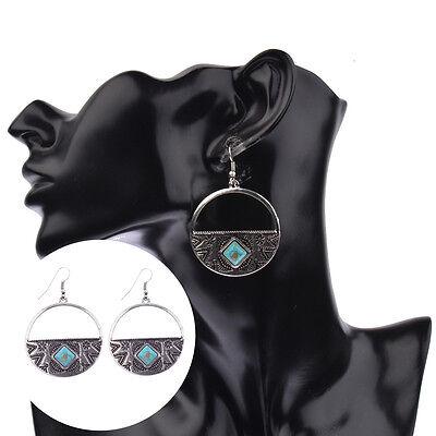 Women's Vintage Bohemian Boho Style Turquoise Hollow Semicircle Dangle Earrings