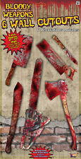 BLOODY WEAPON Wall Decor Cutouts paper party Halloween 6 pcs