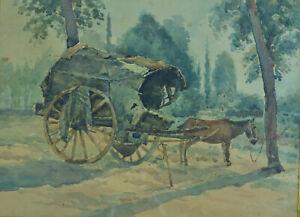 Tableau Ancien Aquarelle Scene Bucolique Campagne Paysage Roulotte Ane Ebay