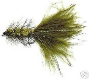 12 Olive Woolly Bugger Fly Fishing Flies #8,10,12