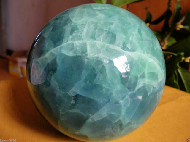 70mm stand Glow In The Dark Stone crystal Fluorite sphere ball (Iceland SPAR)