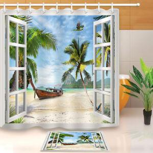Image Is Loading Window Beach Ship Palm Tree Shower Curtain Hooks