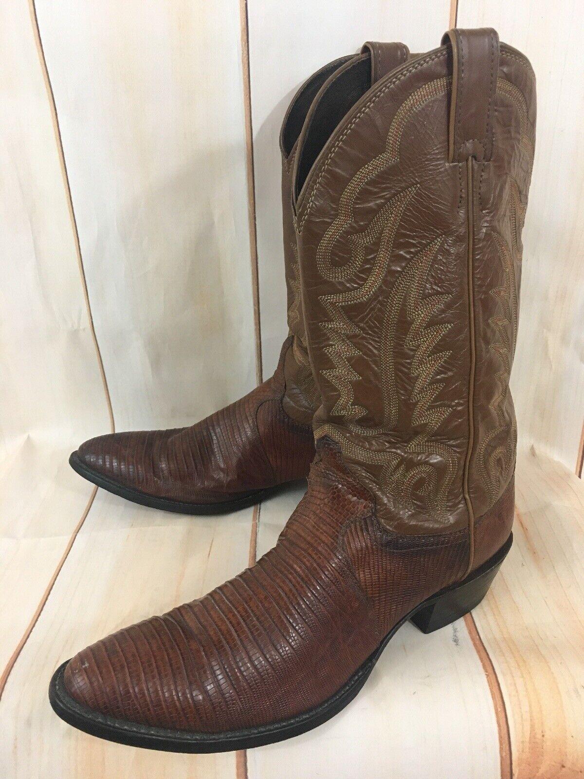 Vintage Justin 8303 EE. UU. Lagarto Rockabilly botas de vaquero occidental de cuero hombres 12 a