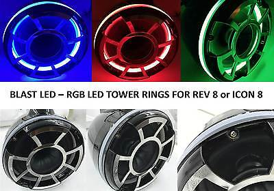 "Rockford Fosgate M262 M262B 6.5/"" Wake Tower RGB LED Light Speaker Rings DRILLED"