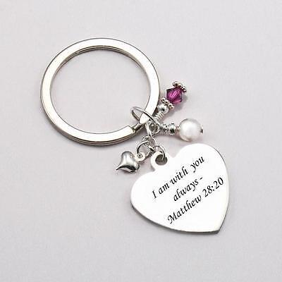 Bible Verse Key Ring, Personalised Keyring with Engraving & Birthstone,  Catholic   eBay
