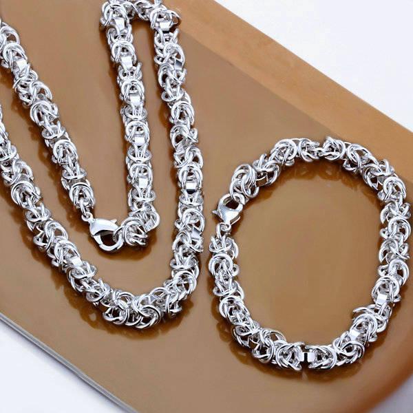NEW fashion jewelry set silver necklace+bracelet gift HS60