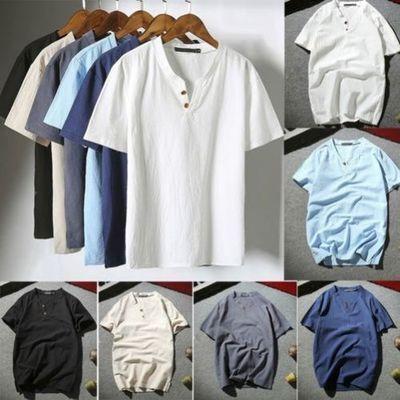 homme lin flax Respirable T-shirt décontracté col V Chemise manche courte