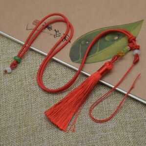 50PC-Hand-knitted-rope-key-chain-rope-to-play-jade-rope-hanging-pendant-Red