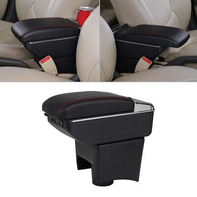 Dual-Layer Black Leather Arm Rest For 2010-2017 Polo Mk5 Vento Centre Console Storage Box Armrest