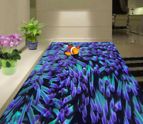 3D Fish In Coral Living Room Kitchen Floor Stickers Removable Waterproof