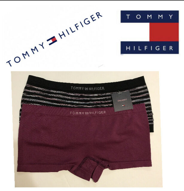 TOMMY HILFIGER Seamless Logo Band Navy Blue Red BoyShort Panty NEW Womens M 6