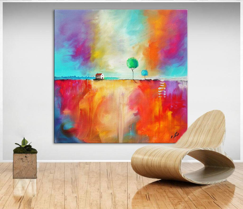 Landschaft Bunt Farbe Bild Leinwand Abstrakt Kunst Bilder Wandbild D0107