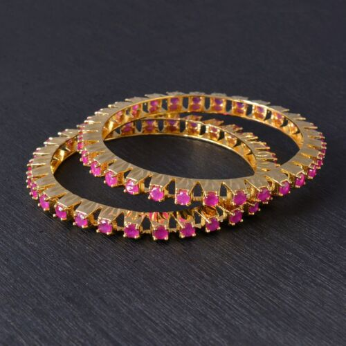 Details about  /Yellow Gold Plated emerald Ruby Stone// Women Bangles for Women Girls.