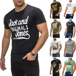 Jack-amp-Jones-T-shirt-Hommes-Shirt-Manches-Courtes-Shirt-Streetwear-Regular-Fit-Casual