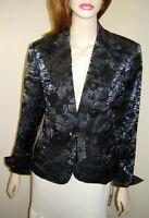 Lena Gabrielle York Dark Gray/black Flocked Tie Front Dress Jacket (8)