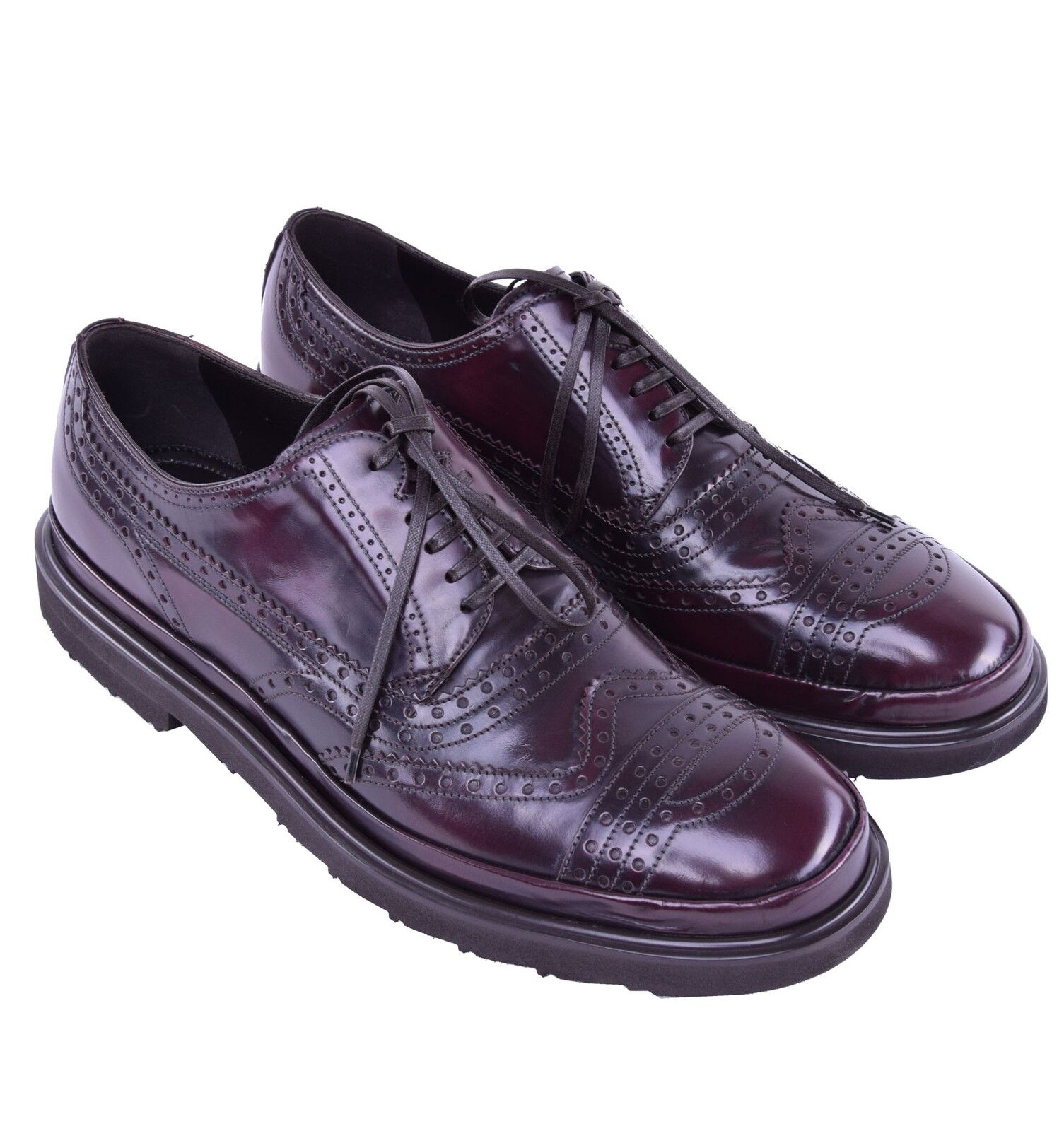 DOLCE & GABBANA Leichte Budapester Schuhe Bordeaux Rot Solid Shoes Red 03942