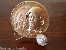 Official 65 INFANTRY REGIMENT BORINQUENEERS Huge 76.5mm BRONZE MEDAL Puerto Rico