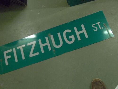 "LARGE ORIGINAL FITZHUGH ST STREET SIGN 48/"" X 12/"" WHITE LETTERING ON GREEN"