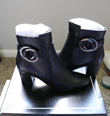 Karl Lagerfeld Paris Cosette 7.5 M Leather Ring Bootie Navy Blue Ankle Boots