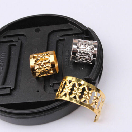 100pcs DIY 9mm Dreadlock Beads Adjustable Hair Braid Rings Cuff Clips Tube