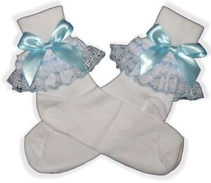 Image Is Loading Pretty Blue Bows Ribbon Lacy Socks For Adult