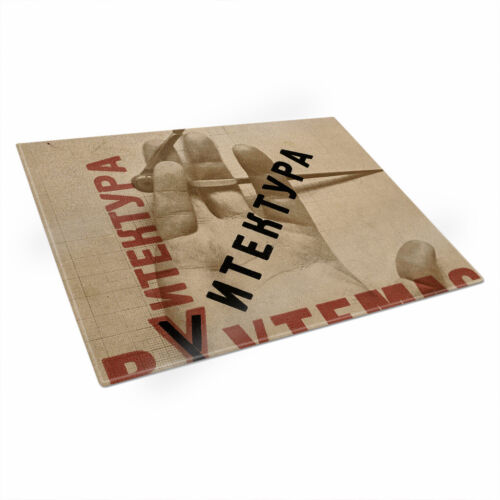 El Lissitzky Architecture Mockba Glass Chopping Board Kitchen Surface Protector