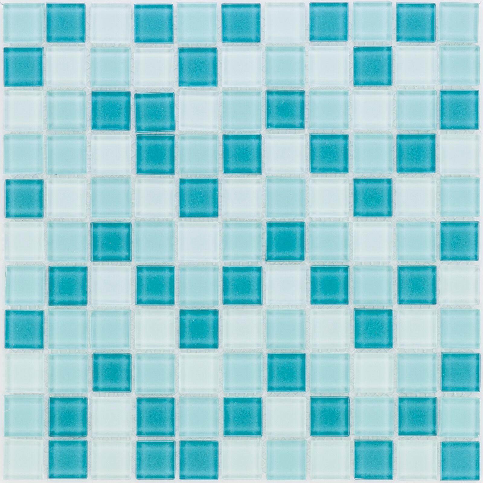 Glasmosaik Fliesen türkis grün mix Wand Dusche WC Küche | 10 Matten  ES-41053 _f