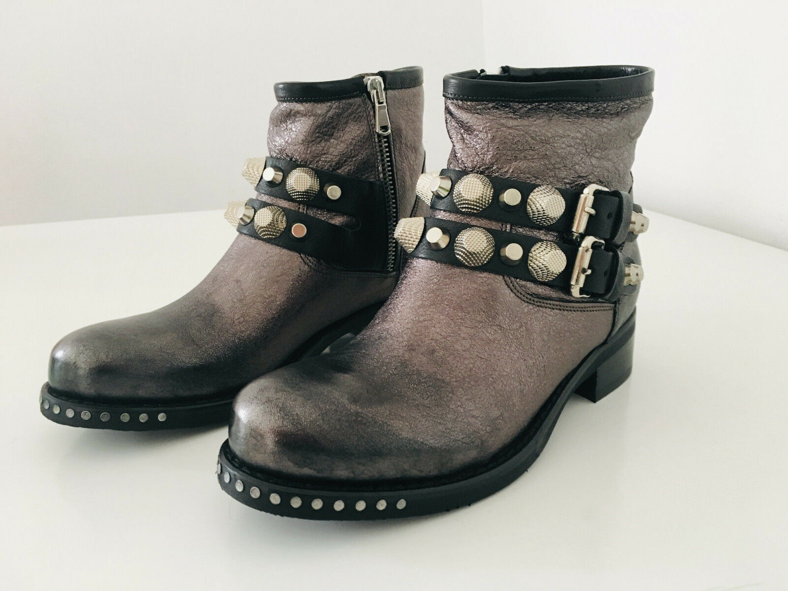 MIMMU - Stiefel Stiefel Nieten glänzend metallic  - NEU S38OK Gr 38  S38OK NEU 260e3c