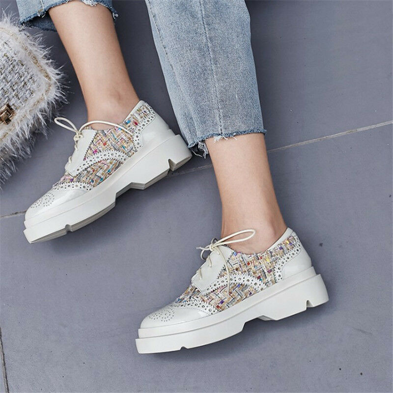 Women's Brogues Wingtip Patent Leather Leather Leather shoes Platform Lace Up Casual Creepers 5c66cc