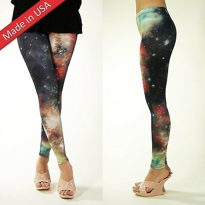 Cosmic Galaxy Space Trendy Aurora Multicolored Leggings Tights Pants Made in US