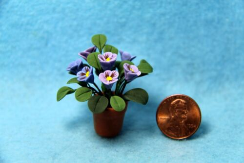 Dollhouse Miniature Purple Pansies in White Pot ~ F2073