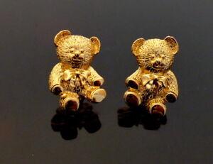 Teddy-Baer-wunderschoene-vergoldete-Ohrclips-Ohrringe-1980s-Boucles-d-039-oreilles