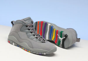 best cheap 4f50d 991b1 Image is loading Nike-Air-Jordan-10-Retro-COOL-GREY-MULTI-