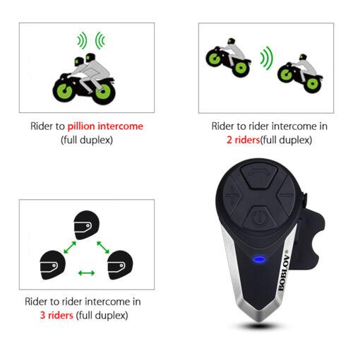 2x BT-S3 Motorcycle Intercom 1 KM Helmet GPS MP3 Wireless Blue-tooth FM Radio