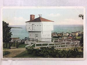 Vtg 1913 Old Block House Mackinac Island Michigan Postcard Scenic Lake View