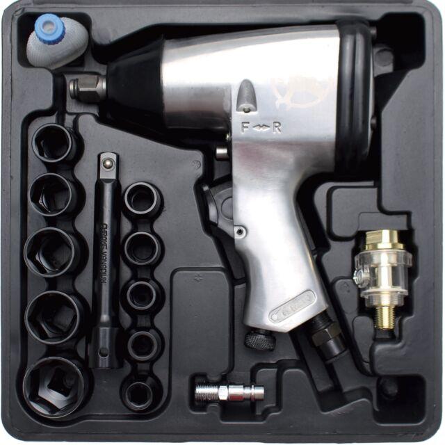 """Clé à chocs pneumatique 1/2"""" 312 Nm avec douilles 9 à 27 mm rallonge impact choc"""