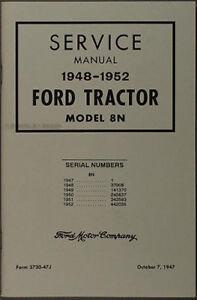 ford 8n tractor shop manual 1948 1949 1950 1951 1952 service repair rh ebay com 8n ford tractor service manual 8n tractor manual pdf