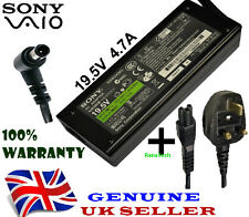 GENUINE ORIGINAL Sony VGP-AC19V24 Adapter Charger 19.5V 4.7A + UK POWER CABLE