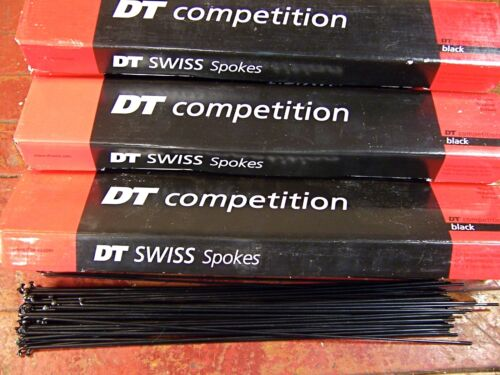 Butted *Any Qty**Custom Length* DT SWISS COMPETITION Spokes Black 2.0//1.8mm Dbl