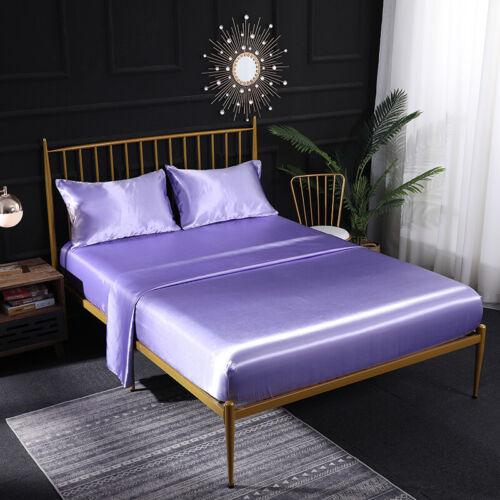 4 Pieces Silk Satin Fitted Sheet Set Bedding Set Mattress Covers Deep Pocket