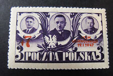 "POLONIA,POLAND,POLSKA,1947 "" 1° riunione dopoguerra"" 1V. cpl set MH"