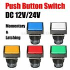 DC 12/24V 16mm Push Button Switch Colorful LED Light Momentary/Latching 5 Pin