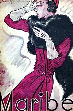 Schugovura Maribel Spanish Art Deco Cover LADY w BLACK FUR STOLE 1933 Matted