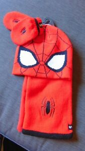 M-amp-S-Marvel-Spiderman-3-Part-Knitted-Hat-Scarf-amp-Mitts-Set-6-18mths-Red-Mix-BNWT