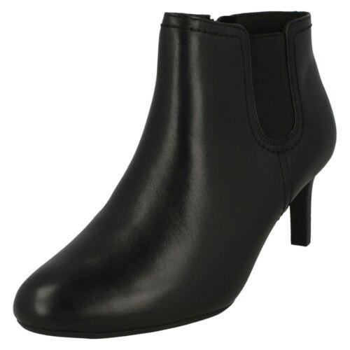 Ladies Clarks Smart Slim Heeled Zip Up Leather Ankle Boots Dancer Sky