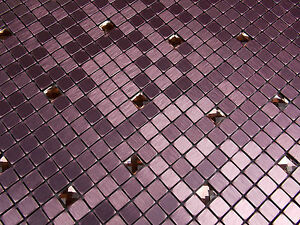effektmosaik klar glas mosaik fliesen rosa pink aluminium metall diamant lp141 ebay. Black Bedroom Furniture Sets. Home Design Ideas