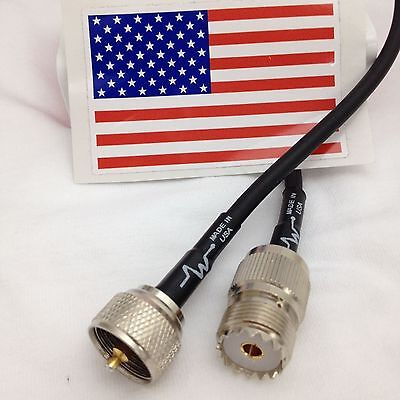 US MADE 50ft PL-259 UHF to  PL259 HAM CB VHF RF RG-58 Coax Antenna Cable