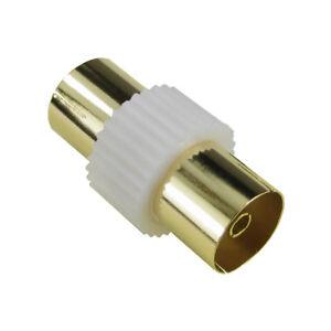 2-x-Gold-Rf-Coaxial-Acoplador-TV-Cable-Aereo-Carpintero-Adaptador-Hembra-F-Blanco